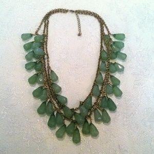 GREEN Chandelier Drop Multi Strand Necklace